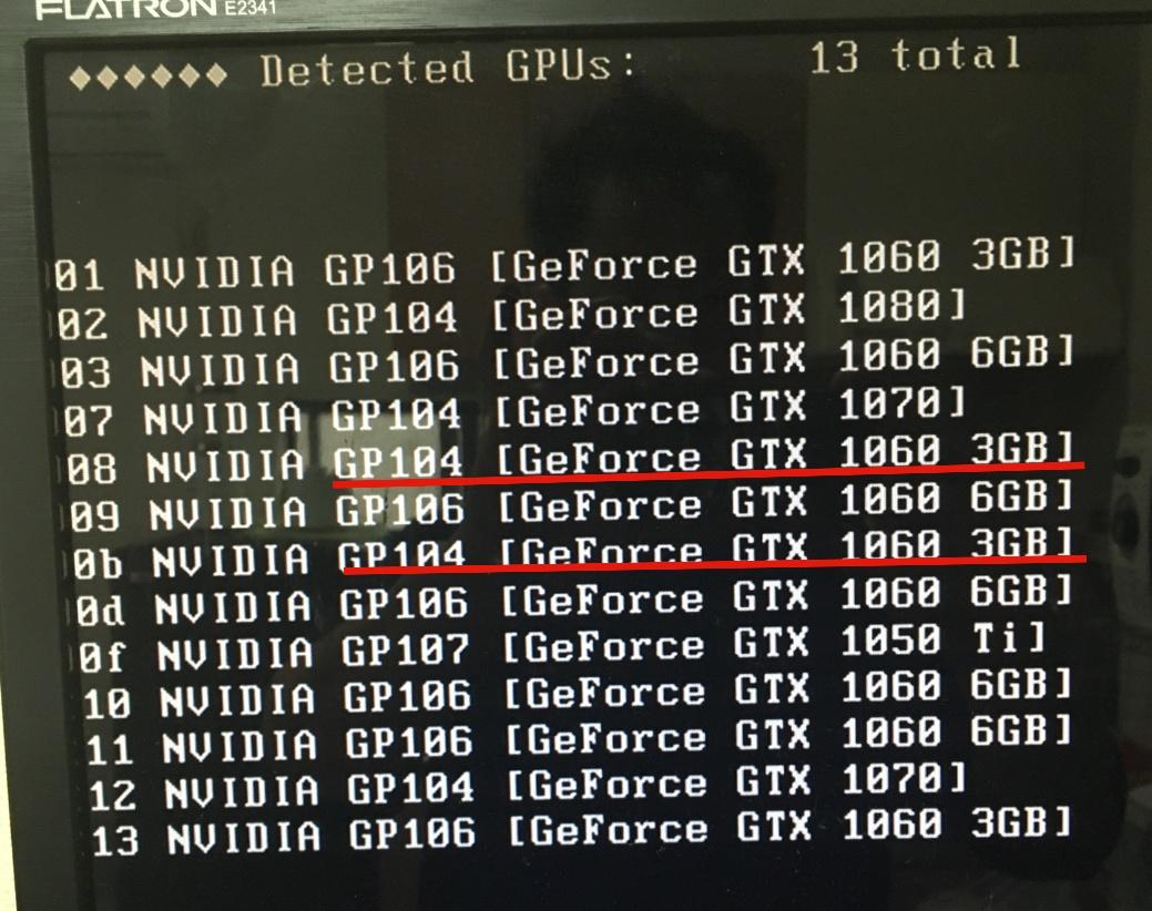 ethOS稼働中のマイニング機にGPU2枚追加で13枚稼働中